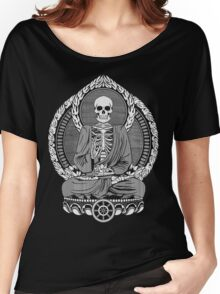 Skeleton Buddha White Halftone Women's Relaxed Fit T-Shirt