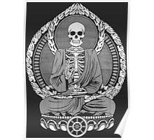 Skeleton Buddha White Halftone Poster