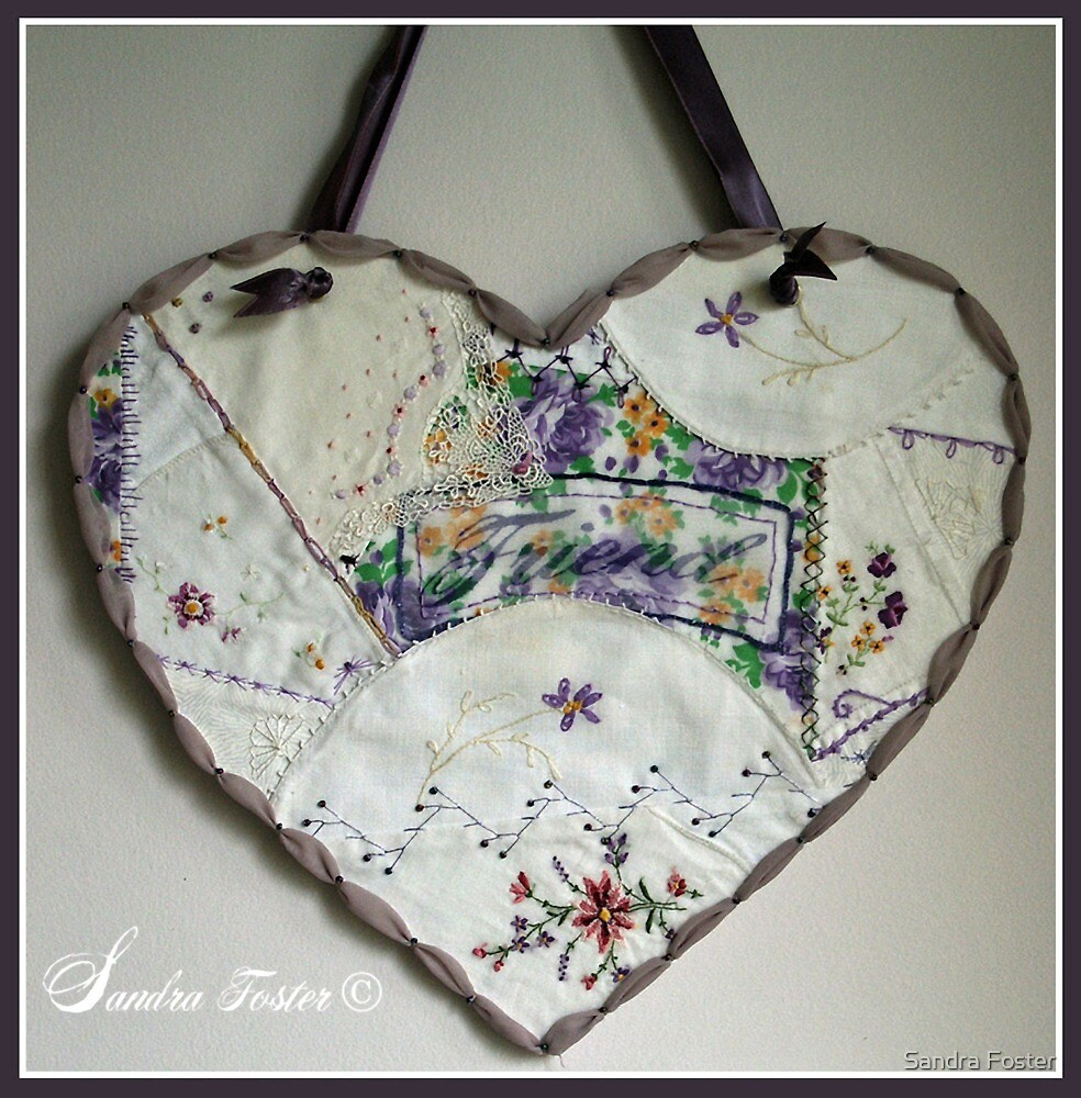 Quot crazy quilt heart with embroidery stitches for friend by