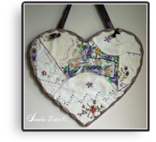Crazy Quilt Heart With Embroidery Stitches For Friend Canvas Print