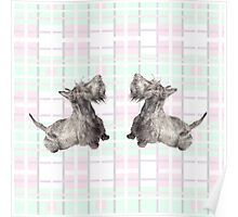 Scottish Terrier: Scottie Plaid Watercolor Poster