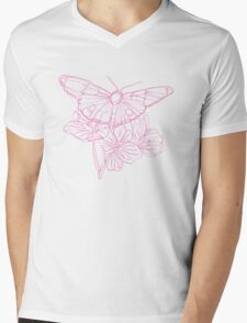 Butterflies and Flowers Continuous Line Drawing Mens V-Neck T-Shirt