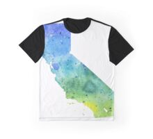 Watercolor Map of California, USA in Blue and Green - Giclee Print of My Own Watercolor Painting Graphic T-Shirt