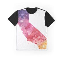 Watercolor Map of California, USA in Orange, Red and Purple - Giclee Print  Graphic T-Shirt