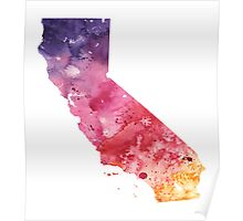 Watercolor Map of California, USA in Orange, Red and Purple - Giclee Print  Poster