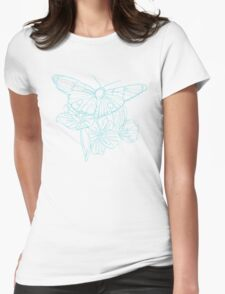 Butterflies and Flowers Continuous Line Drawing Womens Fitted T-Shirt
