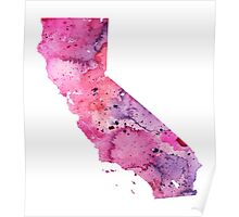 Watercolor Map of Californian, USA in Pink and Purple - Giclee Print of My Own Watercolor Painting Poster