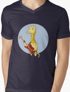Giraffes Love Music Mens V-Neck T-Shirt