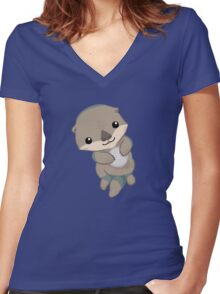 Cute Otter Pup Women's Fitted V-Neck T-Shirt