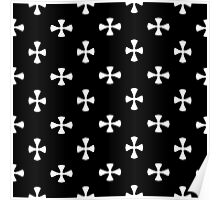 Black and White Cross Pattern Poster