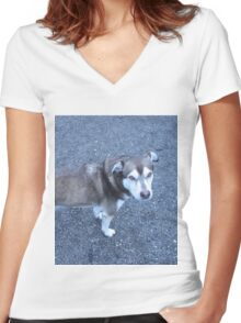 Cute Half Dog Women's Fitted V-Neck T-Shirt