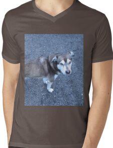 Cute Half Dog Mens V-Neck T-Shirt