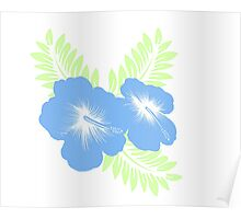 Blue and Green Floral Poster