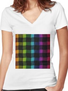 abstract colorful line background Women's Fitted V-Neck T-Shirt