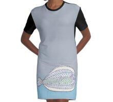 Funny Flat Fish Graphic T-Shirt Dress
