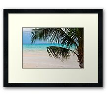 Exotic tropical beach with white sand and blue waters Framed Print