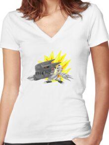 digimon chibi mugendramon Women's Fitted V-Neck T-Shirt