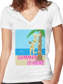Summer is here design Women's Fitted V-Neck T-Shirt