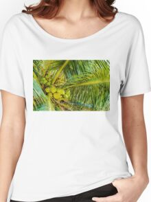 Bunch of green coconuts in palm tree Women's Relaxed Fit T-Shirt