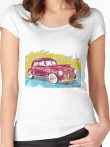 Old Red Plymouth Sketch Women's Fitted Scoop T-Shirt