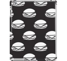 Black and White Burger Pattern Outline iPad Case/Skin
