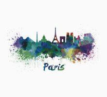 Paris skyline in watercolor Kids Tee