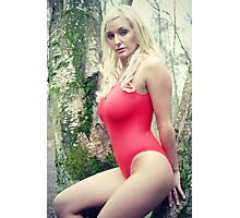 Jen, Red Swimsuit Photographic Print