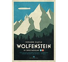 Castle Wolfenstein Vintage Tourism (Border 3D Blue) Photographic Print