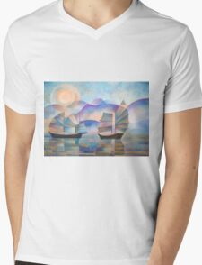 Shades of Tranquility - Cubist Junks Mens V-Neck T-Shirt