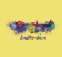 Amsterdam skyline in watercolor Kids Tee