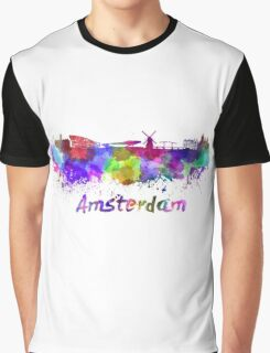 Amsterdam skyline in watercolor Graphic T-Shirt