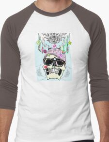Hipster skull mashup Men's Baseball ¾ T-Shirt
