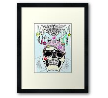 Hipster skull mashup with Steampunk cliches Framed Print