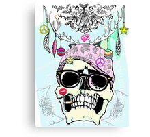 Hipster skull mashup with Steampunk cliches Canvas Print