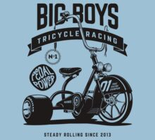 Big Boys Tricycle Racing [Black Mono] Kids Tee