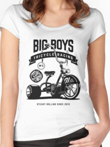Big Boys Tricycle Racing [Black Mono] Women's Fitted Scoop T-Shirt