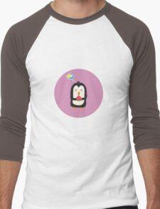 Penguin with melon   Men's Baseball ¾ T-Shirt