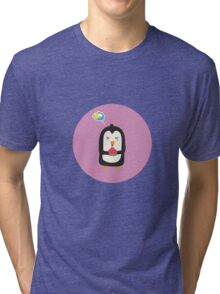 Penguin with melon   Tri-blend T-Shirt