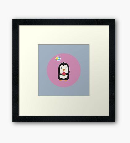 Penguin with melon   Framed Print