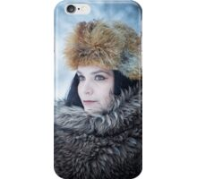 Portrait of an older woman, in the winter iPhone Case/Skin
