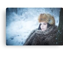Portrait of an older woman, in the winter Metal Print