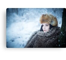 Portrait of an older woman, in the winter Canvas Print