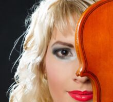 Blonde girl carrying violin Sticker