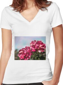 2 Variegated Roses Women's Fitted V-Neck T-Shirt