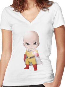 Chibi one punch man Women's Fitted V-Neck T-Shirt