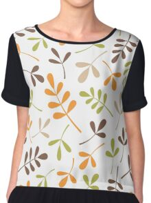 Assorted Leaf Silhouettes Retro Colors Chiffon Top