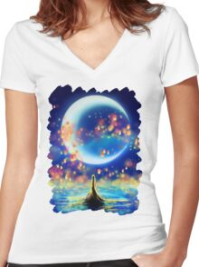 Starry Night Mermaid Women's Fitted V-Neck T-Shirt