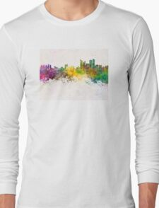 Busan skyline in watercolor background Long Sleeve T-Shirt