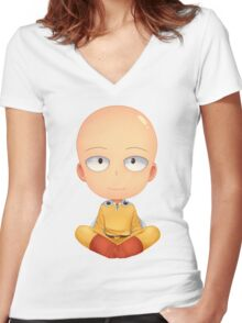 saitama zen one man punch Women's Fitted V-Neck T-Shirt