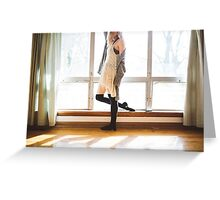 young woman standing near a window Greeting Card